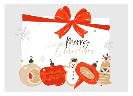 Hand drawn vector abstract Merry Christmas and Happy New Year time cartoon illustration greeting card with retro vintage xmas tree bauble toys and Merry Christmas text isolated on white background.