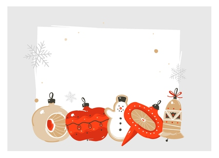 Hand drawn vector abstract fun Merry Christmas and Happy New Year time cartoon illustration greeting card with retro vintage xmas tree bauble toys and copy space place isolated on white background