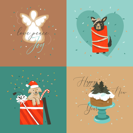 Hand drawn vector abstract Merry Christmas and Happy New Year cartoon illustration greeting cards collection set with dogs,xmas cake and Merry Christmas text isolated on colored background. Illustration