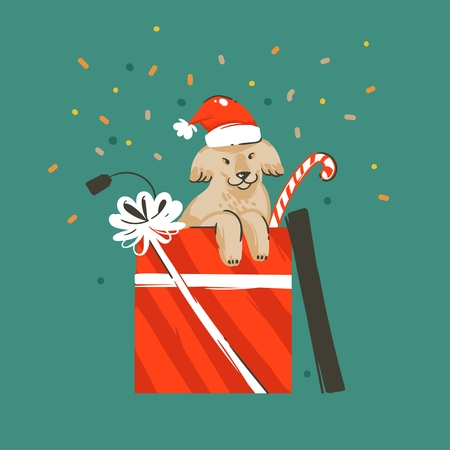 Hand drawn vector abstract fun Merry Christmas and Happy New Year time cartoon illustration greeting card with xmas cute funny dog in gift box and confetti isolated on green background.