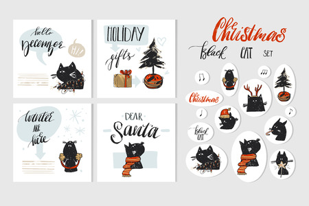 Hand drawn vector abstract Merry Christmas and Happy New Year time cartoon illustration greeting cards collection set with xmas cats and Christmas stickers isolated on white background.