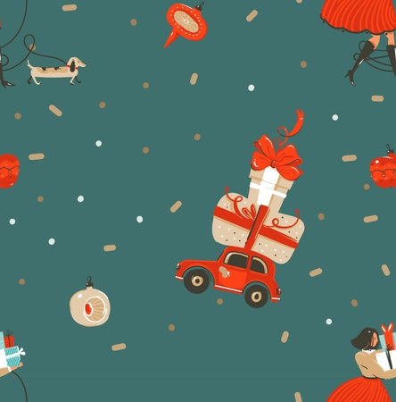 Hand drawn vector abstract fun Merry Christmas and Happy New Year time cartoon rustic festive seamless pattern with cute illustrations of Xmas people and gift boxes isolated on green background.