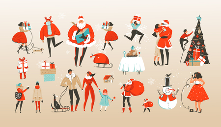 Dibujado a mano vector abstracto feliz Navidad y feliz año nuevo dibujos animados ilustraciones saludo colección con personajes de personas celebrando, Santa Claus y árbol de Navidad aislado sobre fondo blanco.