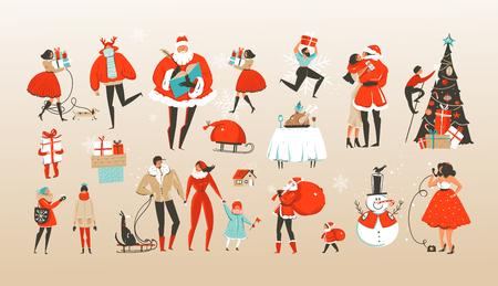 Insieme di vettore disegnato a mano astratto buon Natale e felice anno nuovo fumetto illustrazioni saluto insieme con celebrando personaggi di persone, Babbo Natale e albero di Natale isolato su priorità bassa bianca.