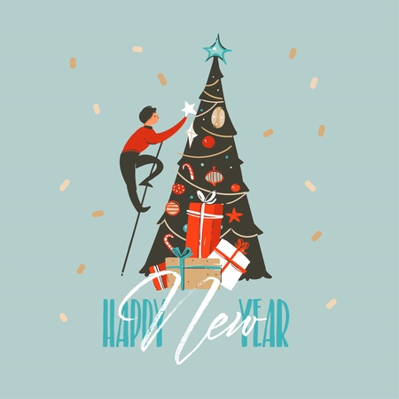 Hand drawn vector abstract fun Merry Christmas and Happy New Year time cartoon illustration greeting card with xmas tree and Happy New Year typography isolated on blue background.