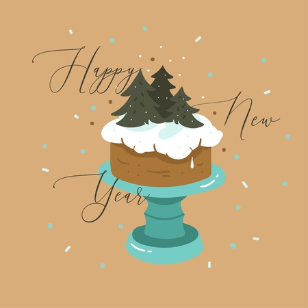 Hand drawn vector abstract fun Merry Christmas and Happy New Year time cartoon illustration greeting card with xmas cake stand and Happy New Year text isolated on brown background.