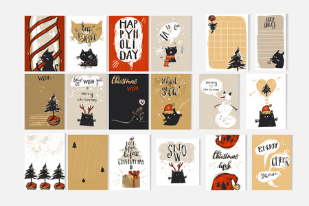 Hand drawn vector abstract Merry Christmas and Happy New Year time cartoon illustration greeting cards collection set with xmas cats and Christmas calligraphy quotes text isolated on white background