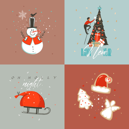 Hand drawn vector abstract Merry Christmas and Happy New Year cartoon illustration greeting cards collection set with snowman,xmas tree,people and Merry Christmas text isolated on colored background.