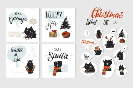 Hand getekende vector abstracte prettige kerstdagen en gelukkig Nieuwjaar tijd cartoon afbeelding wenskaarten collectie set met xmas katten en kerst stickers geïsoleerd op een witte achtergrond.
