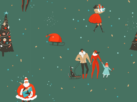Hand drawn vector abstract fun Merry Christmas and Happy New Year time cartoon rustic nordic seamless pattern with cute illustrations of Xmas people and Santa Claus isolated on green background. Illustration