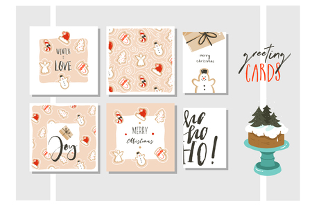 Hand drawn vector abstract fun Merry Christmas and Happy New Year time cartoon illustration greeting cards collection set with xmas gingerbread cookies and quotes isolated on colored background