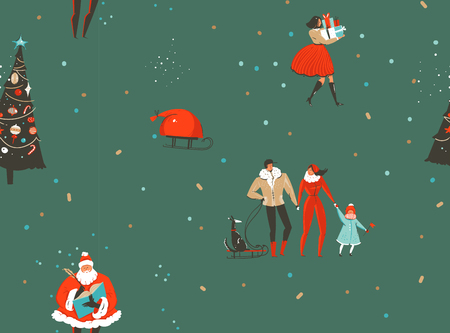 Hand drawn vector abstract fun Merry Christmas and Happy New Year time cartoon rustic nordic seamless pattern with cute illustrations of Xmas people and Santa Claus isolated on green background