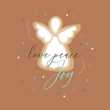 Hand drawn vector abstract fun Merry Christmas and Happy New Year time cartoon illustration greeting card with gingerbread cookies and Love Peace Joy quote isolated on brown background. Standard-Bild - 113557870