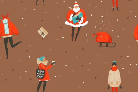 Hand drawn vector abstract fun Merry Christmas and Happy New Year time cartoon rustic festive seamless pattern with cute illustrations of Xmas people and gift boxes isolated on brown background. Standard-Bild - 113557871