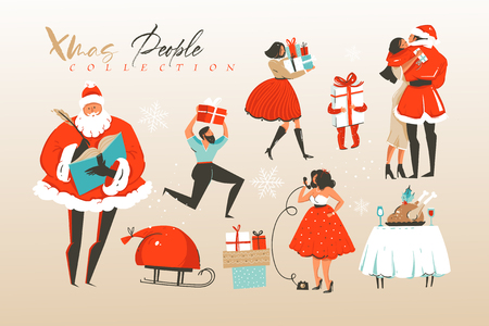 Hand drawn vector abstract Merry Christmas and Happy New Year cartoon illustrations greeting collection set with winter domestic lifestyle celebrating people characters isolated on white background. Illustration