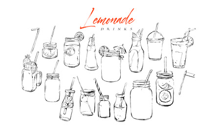 Hand drawn vector graphic textured artistic bar menu ink collection set sketch illustrations drawing bundle of organic natural lemonade cocktails drinks in glass isolated on white background. 일러스트