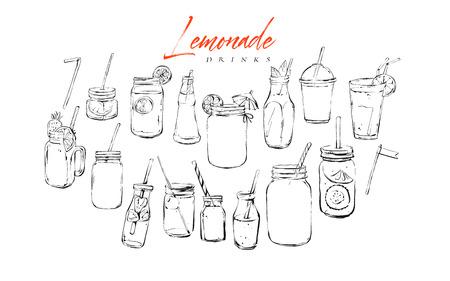 Handgezeichnete Vektorgrafik strukturierte künstlerische Bar Menü Tintensammlung Set Skizze Illustrationen Zeichnung Bündel von organischen natürlichen Limonade Cocktails Getränke im Glas isoliert auf weißem Hintergrund.