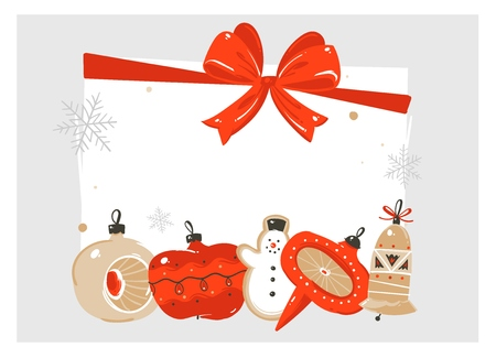 Hand drawn vector abstract Merry Christmas and Happy New Year time cartoon illustration greeting card with vintage xmas tree bauble toy and copy space place for your text isolated on white background