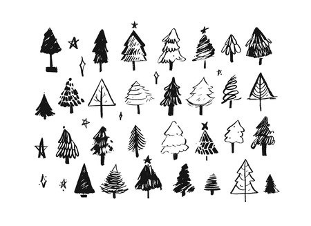 Hand drawn vector abstract Merry Christmas and Happy New Year cartoon illustrations greeting collection set with hand made freehand ink textured Christmas trees isolated on white background Illustration