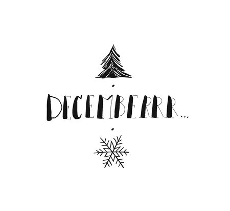 Hand drawn vector Merry Christmas and Happy New Year rough freehand graphic greeting design element with handwritten modern calligraphy phase December isolated on white background.