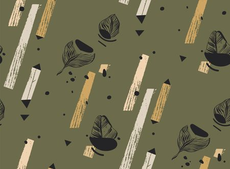 Hand drawn vector abstract freehand textured seamless tropical pattern collage with geometric shape,organic textures,triangles and palm leaves isolated on khaki background Standard-Bild - 113557879