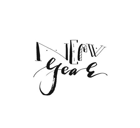 Hand drawn vector Merry Christmas and Happy New Year rough freehand graphic greeting design element with handwritten modern calligraphy phase New Year isolated on white background. Standard-Bild - 113557880