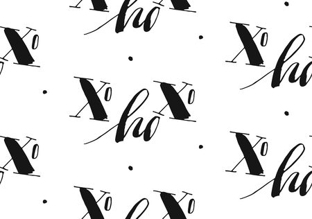 Hand drawn vector Merry Christmas and Happy New Year rough freehand graphic greeting design seamless pattern with handwritten modern calligraphy phase Xo Xo Xo isolated on white background. Фото со стока - 113557883