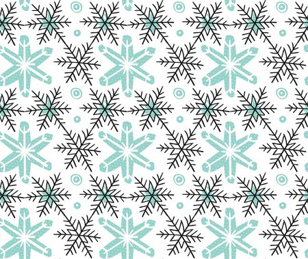 Hand drawn vector Merry Christmas rough freehand graphic design elements seamless pattern with snowflakes isolated on white background.