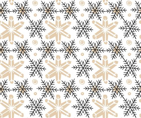 Hand drawn vector Merry Christmas rough freehand graphic design elements seamless pattern with snowflakes isolated on white background. Фото со стока - 113557885