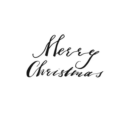 Hand drawn vector Merry Christmas and Happy New Year rough freehand graphic greeting design element with handwritten modern calligraphy phase Merry Christmas isolated on white background.