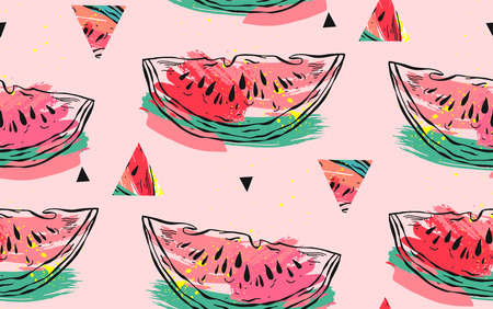 Hand drawn vector abstract collage seamless pattern with watermelon motif,triangle hipster shapes and artistic freehand textures isolated on pink pastel background. Archivio Fotografico - 113557886