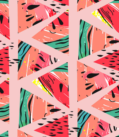 Hand drawn vector abstract collage seamless pattern with watermelon motif and triangle hipster shapes isolated on pink pastel background