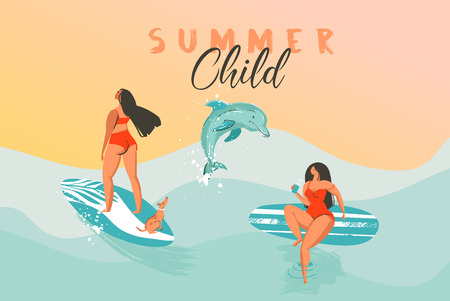 Hand drawn vector abstract summer time funny illustration poster with surfer girls in bikini with dog on blue ocean waves texture,sunset and modern calligraphy quote Summer Child. Foto de archivo - 113557887