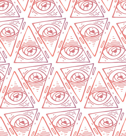 Trendy fashion all seeing eye seamless pattern. Hand drawn Eye pyramidal symbol. Alchemy, religion, spirituality, occultism, textiles art. Isolated vector illustration.