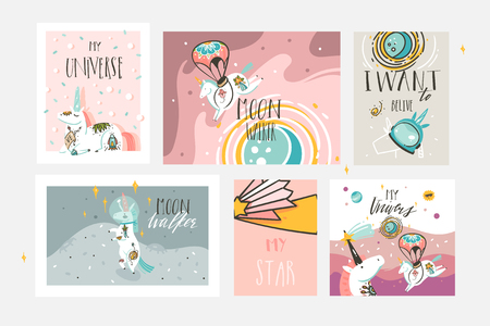 Hand drawn vector abstract graphic creative cartoon illustrations cards collection set template with astronaut unicorns with old school tattoo,planets and spaceship isolated on pastel background. Standard-Bild - 113557889