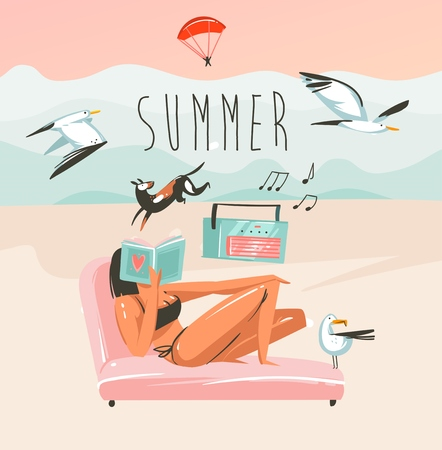 Hand drawn vector abstract cartoon summer time graphic illustrations art template background with ocean beach landscape,pink sunset,reading girl and dog with Summer typography text Stockfoto - 113359760