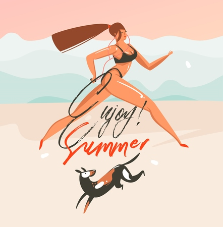 Hand drawn vector abstract cartoon summer time graphic illustrations art template background with ocean beach landscape,pink sunset,running girl and dog with Enjoy Summer typography text