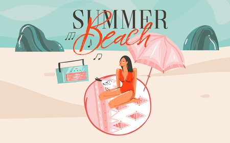 Hand drawn vector abstract cartoon summer time graphic illustrations art template background with ocean beach landscape,pink sunset, girl and Summer Beach typography text. Standard-Bild - 113557897