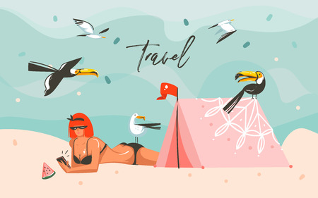 Hand drawn vector abstract cartoon summer time graphic illustrations art template background with ocean beach landscape, girl,tropical birds,tent and Travel typography text