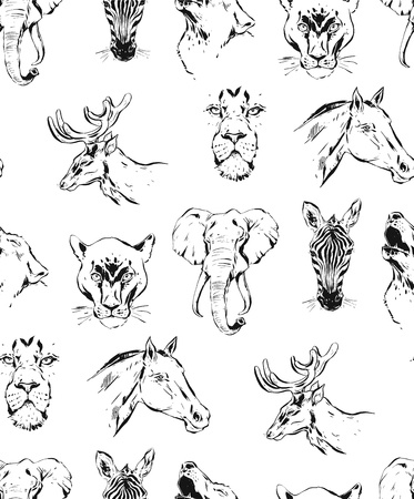 Hand drawn vector abstract artistic ink textured graphic sketch drawing illustrations seamless pattern of wildlife animals zebra, lion,wolf,horse and deer heads isolated on white background