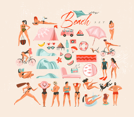 Hand drawn vector abstract cartoon summer time fun big fun decoration swimming people group collection illustrations set bundle scene creator isolated on white background.
