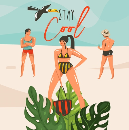 Hand drawn vector abstract cartoon summer time graphic illustrations art template background with ocean beach landscape,tropical leaves,people with Stay Cool typography text Archivio Fotografico - 113691428