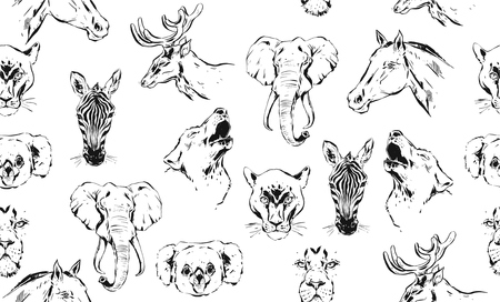 Hand drawn vector abstract artistic ink textured graphic sketch drawing illustrations seamless pattern of wildlife animals zebra, lion,wolf,horse and deer heads isolated on white background Фото со стока - 113691452