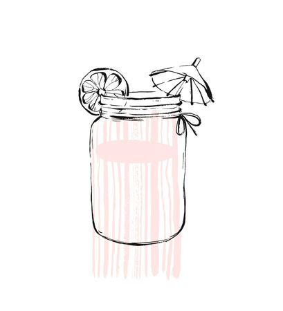 Hand drawn vector graphic Kitchen glassware utensils glass jar bowel drinking accessories isolated on white background with pastel colored freehand textures. Çizim