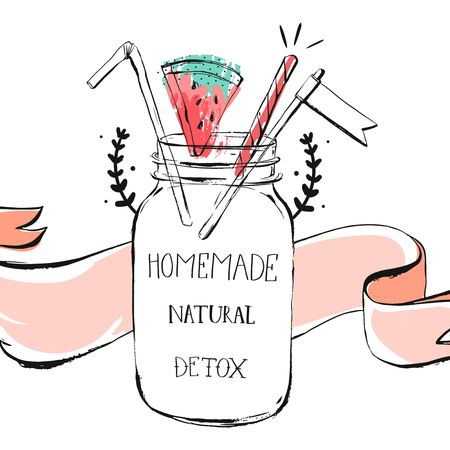 Hand drawn vector abstract summer time lemonade header illustration with glass bottle jar ,watermelon,ribbon and handwritten modern calligraphy Natural Detox water isolated on white background.