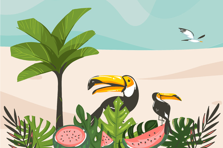 Hand drawn vector abstract cartoon summer time graphic illustrations art template background with ocean beach landscape,tropical palm tree and exotic tropical birds.