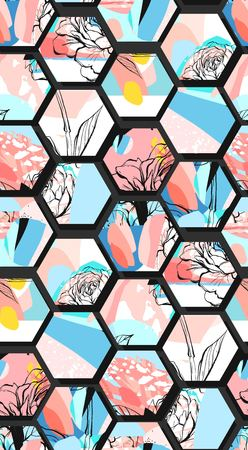 Hand drawn vector artistic universal textured abstract composition seamless pattern with hexagon shapes,hand made textures and flowers motif in pastel colors isolated on black background.