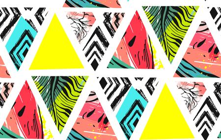 Hand drawn vector abstract unusual summer time decoration collage seamless pattern with watermelon,aztec and tropical palm leaves motif isolated on white background. Banque d'images - 116845325