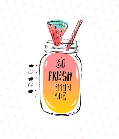 Hand drawn vector abstract creative detox water sign with glass jar,mint leaves and handwritten modern calligraphy quote isolated on white background.Menu,logo design,stamp,signs Фото со стока - 113691467