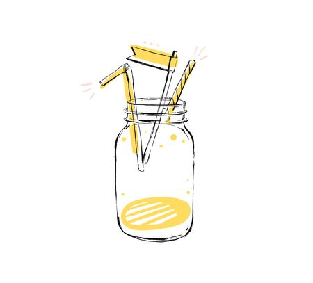 Hand drawn vector abstract creative sign stamp with handwritten modern natural lemonade glass jar isolated on white background.Menu,logo design,sticker,tag,decoration,label 版權商用圖片 - 113691469